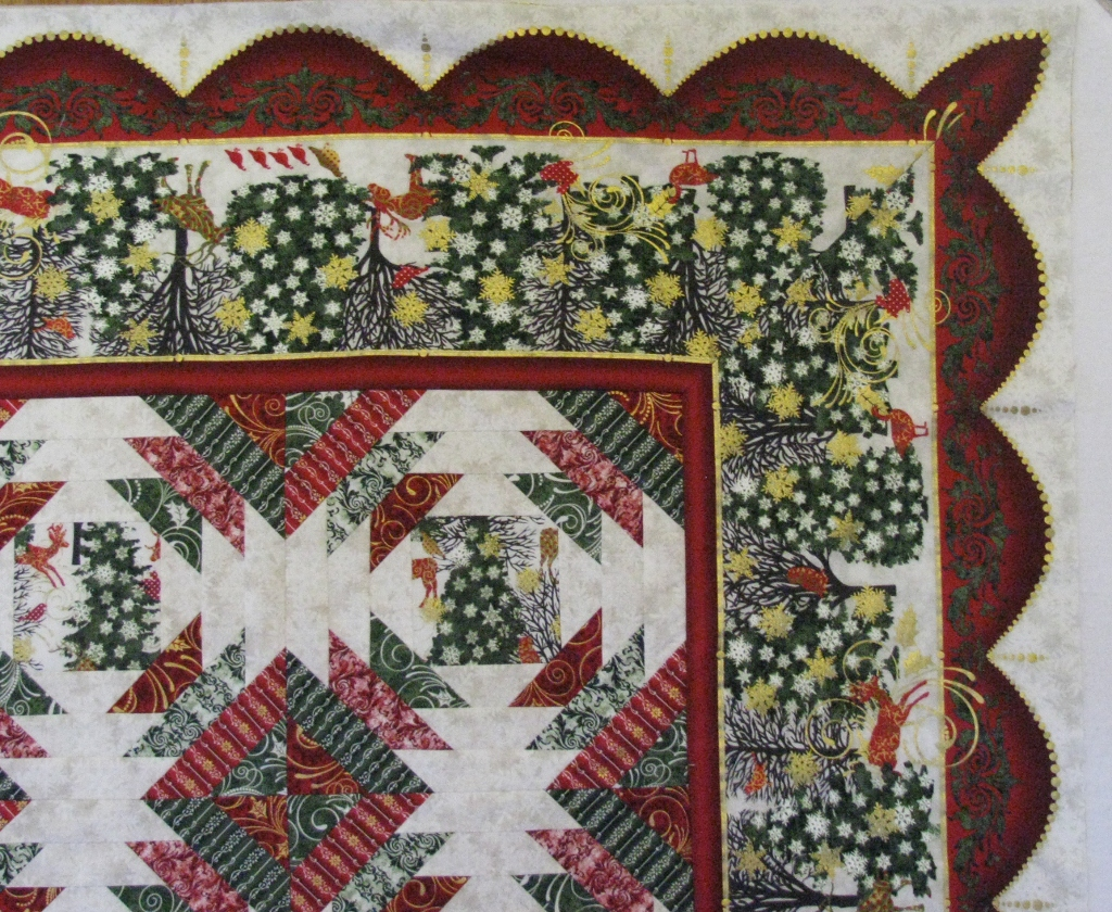 Covered In Stitches 187 Christmas Pineapple Quilt Top